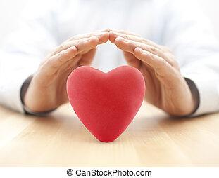 빨강 심혼, 덮는, 얼마 만큼, hands., 건강 보험, 또는, 사랑, 개념