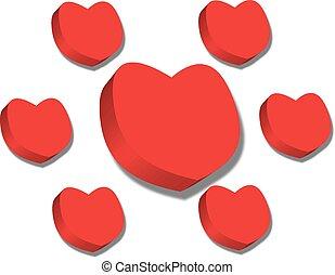 빨강, 심혼, 연인 날, 백색 위에서