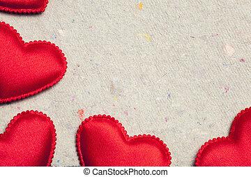 빨강, 심혼, 통하고 있는, 포도 수확, 종이, 배경
