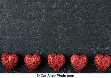 빨강, 심혼, 통하고 있는, a, 칠판, 치고는, 연인 날