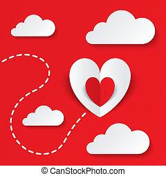 빨강, 종이 마음, 연인 날, card., 길, 에, 심장