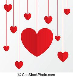 빨강, 종이, 심혼, 연인 날, 카드, 통하고 있는, white.