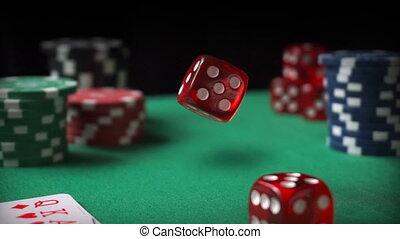 빨강, 주사위, 카지노는 잘게 썰n다, 카드, 통하고 있는, 녹색 펠트