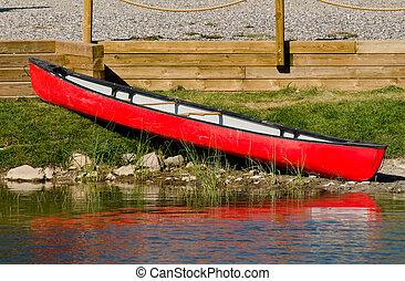 빨강, 카누, 통하고 있는, 그만큼, 해안