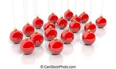 빨강, 크리스마스, 공, 고립된, 백색 위에서, 배경.