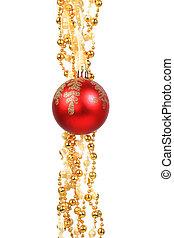 빨강, 크리스마스, 공, 고립된, 통하고 있는, wh