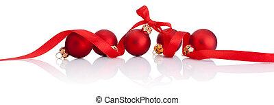 빨강, 크리스마스, 공, 와, 리본, 활, 고립된, 백색 위에서, 배경