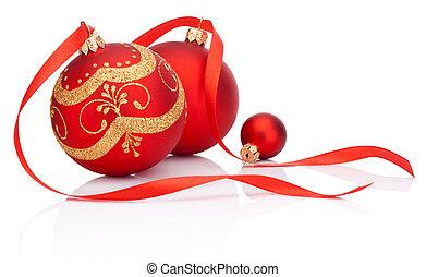 빨강, 크리스마스 훈장, 공, 와, 리본, 활, 고립된, 백색 위에서, 배경