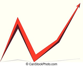 빨강 화살, 그래프, 백색 위에서, 배경