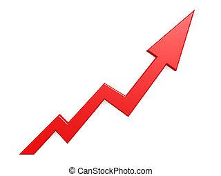 빨강 화살, 그래프, 성장, 위로의, 배경
