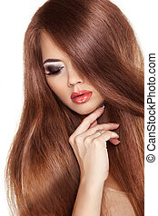 빨강, hair., 아름다움, 여자, 와, 매우, 길게, 건강한, 와..., 빛나는, 매끄러운, 브라운 머리, 고립된, 백색 위에서, 배경., 사치, 그리고 패션, girl., 모델, posing.