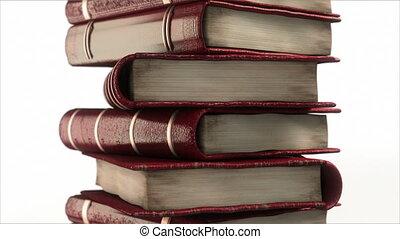 빨강, leathered, 책, 스택