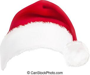 빨강, vector., hat., santa