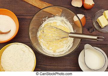 빵 굽기, 시골풍, 신선한, 제작, 테이블., 성분, 멍청한, 반죽