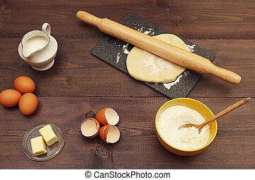 빵 굽기, 시골풍, 제작, 전통적인, 가정, 테이블., 성분, 반죽