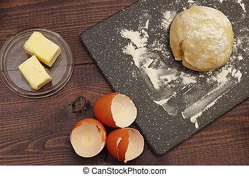 빵 굽기, 시골풍, 제작, 제자리표, 가정, 테이블., 성분, 반죽