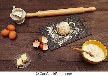 빵 굽기, 시골풍, 제작, 테이블., 가정, 성분, 멍청한, 반죽