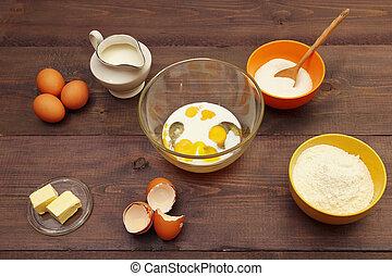 빵 굽기, 제자리표, 성분, 멍청한, 반죽, 제작, 테이블.