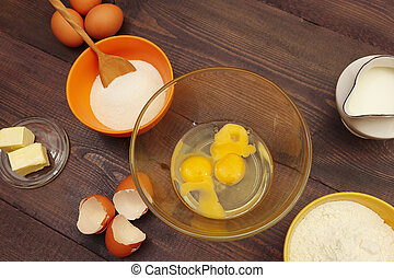 빵 굽기, 제작, 테이블., 성분, 멍청한, 반죽