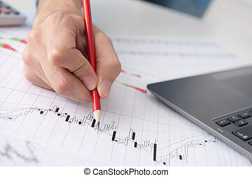 뾰족하게 함, 손, 그래프, 남성, 시장, 주식