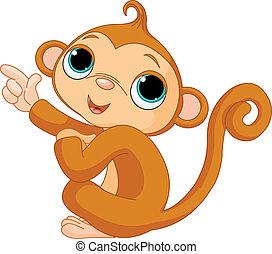 뾰족하게 함, 아기 원숭이