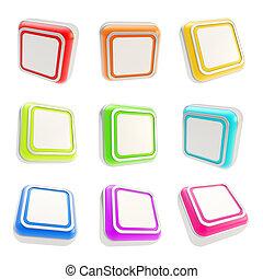 사각형, 광택 인화, 버튼, 고립된, 백색 위에서