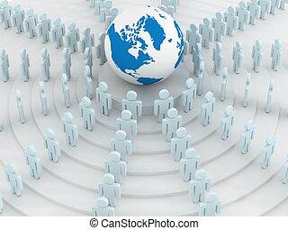 사람의 그룹, 서 있는, 둥근, globe., 3차원, image.
