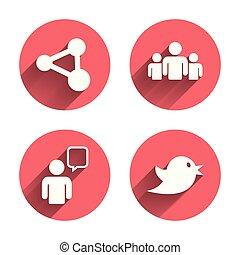 사람의 그룹, 와..., 몫, icons., 연설, bubble.