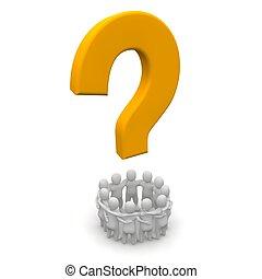 사람의 그룹, 와..., 질문, mark., 3차원, 표현된다, illustration.