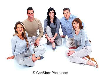 사람의 그룹, 착석, 통하고 있는, 그만큼, floor.