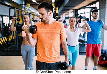 사람의 그룹, 훈련, 에서, 체조