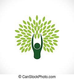 사람, 가령...와 같은, 나무, 하나, 와, 자연, -, eco, 생활 양식, 개념, vector.