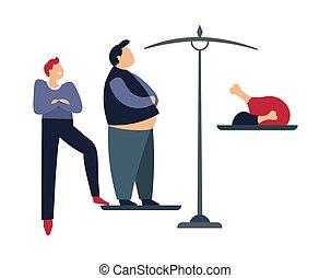 사람, 굴욕을 주는, 뚱뚱한, 남성, 서 있는, 통하고 있는, 무게, 와, 음식