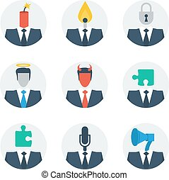 사람, 기술, 통신, 성격, avatars, 개념