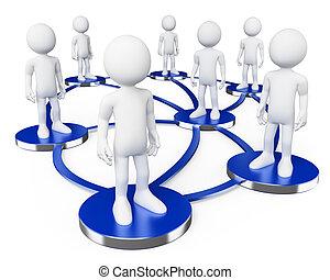 사람., 백색, 3차원, 네트워크, 친목회