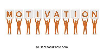 사람, 보유, 그만큼, 낱말, motivation., 개념, 3차원, illustration.