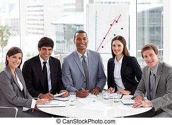 사람 비즈니스, muli-ethnic, 국제적이다, 모임