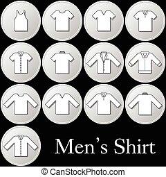 사람, 세트, 셔츠, 아이콘