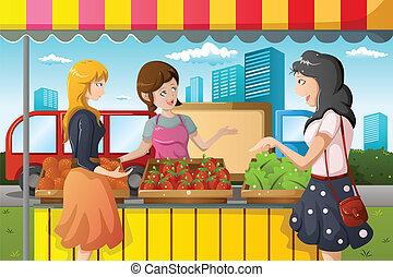 사람, 쇼핑, 시장, 농부