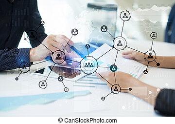 사람, 아이콘, 구조, 친목회, network., hr., 인적 자원, management., 사업, 인터넷, 와..., 기술, 개념