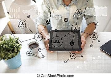 사람, 아이콘, 구조, 친목회, network., hr., 인적 자원, management., 사업, 인터넷, 와..., 기술, concept.