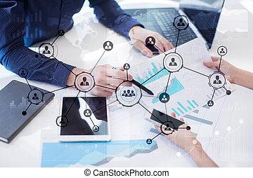 사람, 아이콘, 구조, 친목회, network., hr., 인적 자원, management.
