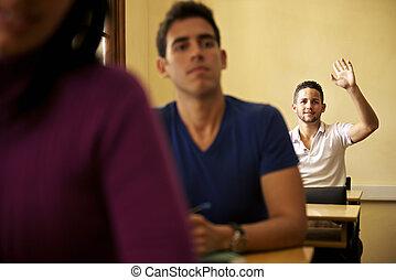 사람, 에, 학교, 학생, 손을 들는, 와..., 묻, 질문, 에, 교수, 동안에, 학급, 에서, 대학, 법률 학교, 대학, 의, 아바나, 쿠바