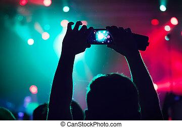 사람, 에, 협화음, 사격, 비디오, 또는, photo.