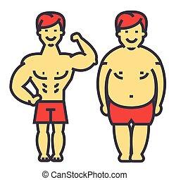 사람, 지는 무게, 지방, 사람, 앞뒤, 규정식, 와..., 적당, 자세하게 되는 것, 청년, 남성, 은 무게를 잃는다, concept., 선, 벡터, icon., editable, stroke., 바람 빠진 타이어, 선형, 삽화, 고립된, 백색 위에서, 배경