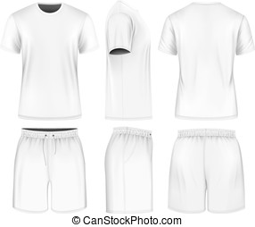 사람, 짧은 소매, 티셔츠, 와..., 스포츠, shorts.