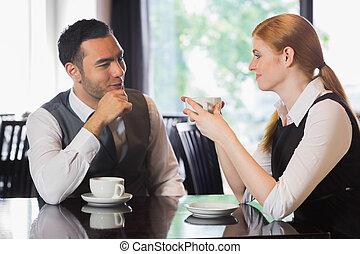 사람, 커피, 위의, 말하는 사업