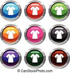 사람, 테니스, 수집, 티셔츠, 세트, 9