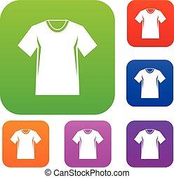사람, 테니스, 티셔츠, 세트, 수집
