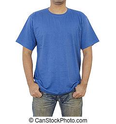 사람, 티셔츠, 파랑